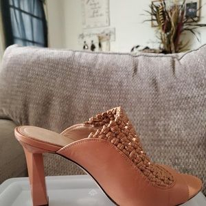 AD & DAUGHTERS CHARMMED LEATHER WOVEN MULES